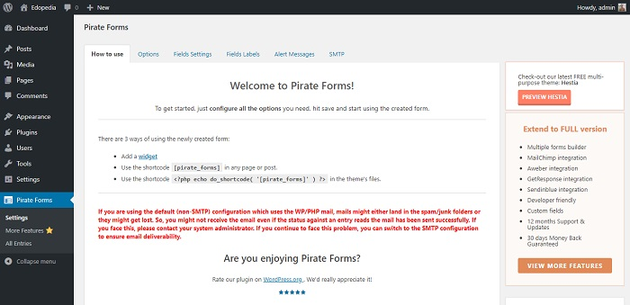 Contact Form & SMTP Plugin for WordPress by PirateForms