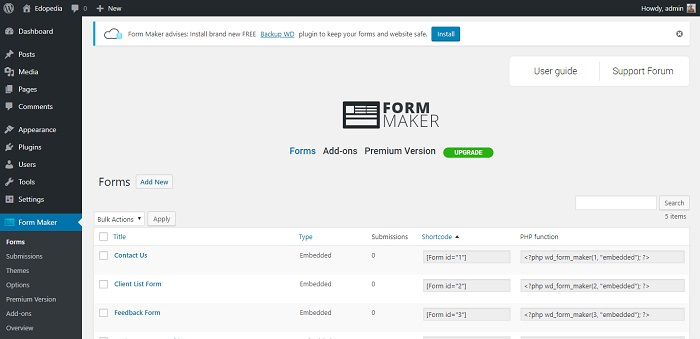 Form Maker by WD - user-friendly drag & drop Form Builder plugin
