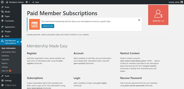 Membership & Content Restriction - Paid Member Subscriptions