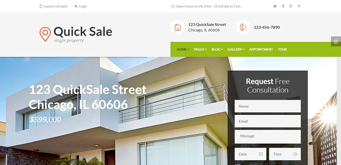 Quick Sale - Single Property Real Estate WordPress Theme
