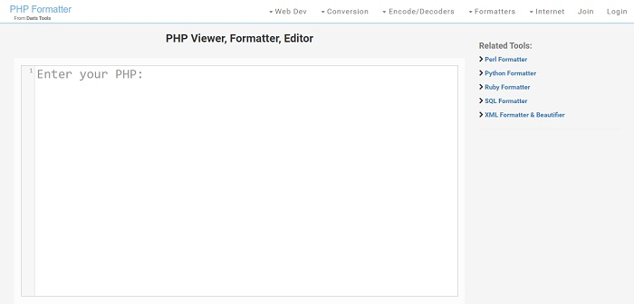PHP Formatter From Dan's Tools