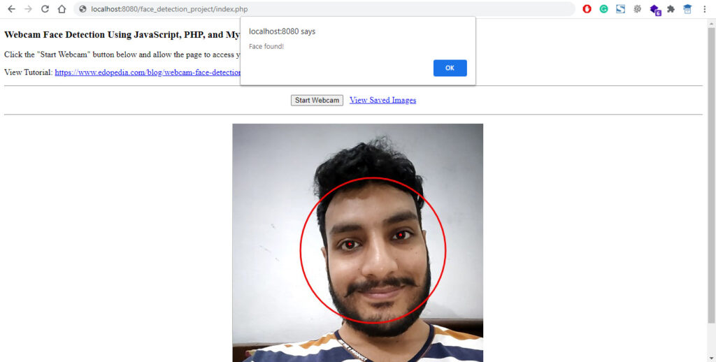Detect Face in Webcam using JavaScript